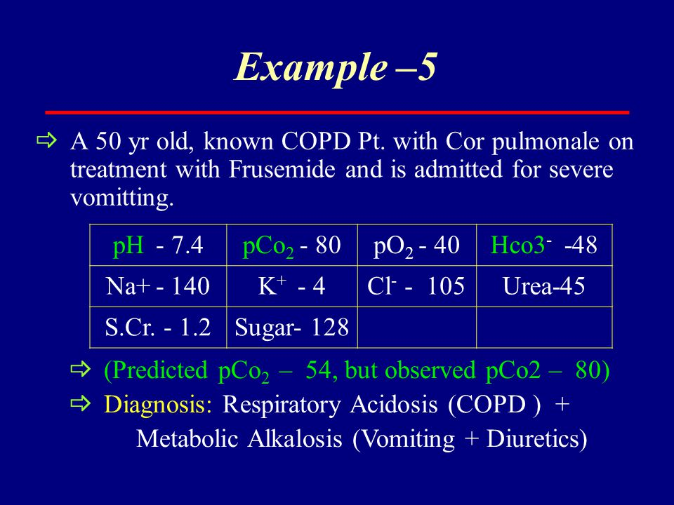Example –5  A 50 yr old, known COPD Pt. with Cor pulmonale on treatment with Frusemide and is admitted for severe vomitting. pH - 7.4pCo 2 - 80pO 2 -