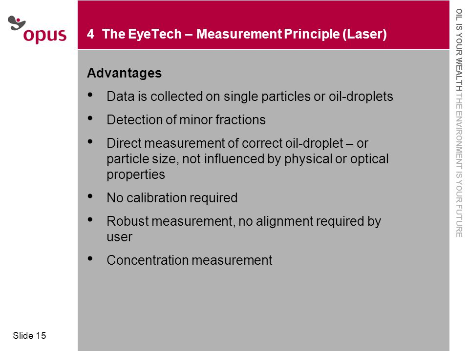  Click to edit Master text styles  Second level OIL IS YOUR WEALTH THE ENVIRONMENT IS YOUR FUTURE Slide 15 4 The EyeTech – Measurement Principle (La