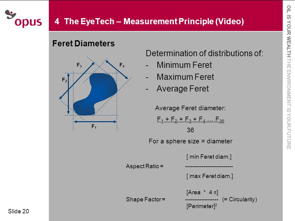  Click to edit Master text styles  Second level OIL IS YOUR WEALTH THE ENVIRONMENT IS YOUR FUTURE Slide 20 4 The EyeTech – Measurement Principle (Video) Feret Diameters Determination of distributions of: -Minimum Feret -Maximum Feret -Average Feret Average Feret diameter: F 1 + F 2 + F 3 + F 4 … F 36 36 For a sphere size = diameter F1F1 F3F3 F2F2 F4F4 [ min Feret diam.] Aspect Ratio = -------------------------- [ max Feret diam.] [Area * 4  ] Shape Factor = ------------------ (= Circularity) [Perimeter] 2