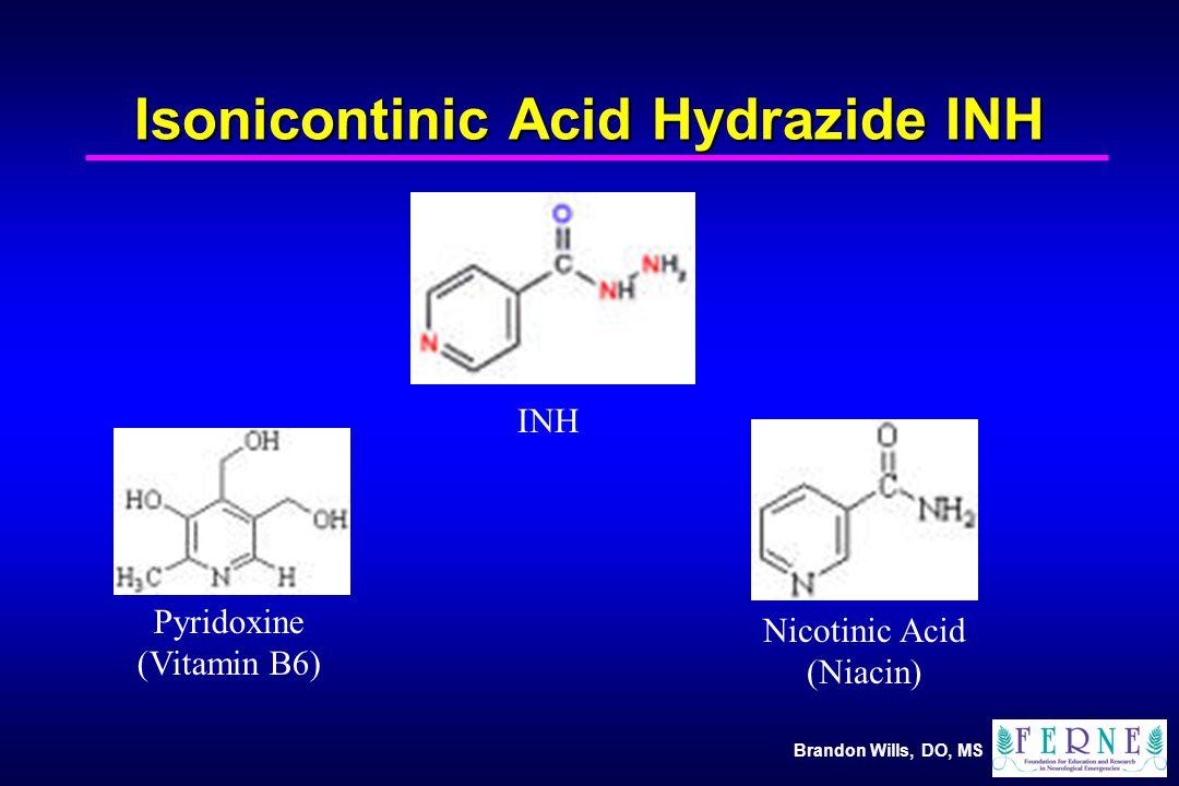 Brandon Wills, DO, MS Isonicontinic Acid Hydrazide INH Pyridoxine (Vitamin B6) INH Nicotinic Acid (Niacin)