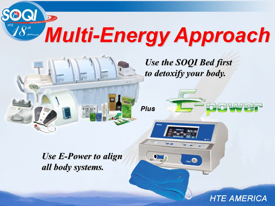 Multi-Energy Approach Plus Use the SOQI Bed first to detoxify your body. Use E-Power to align all body systems.