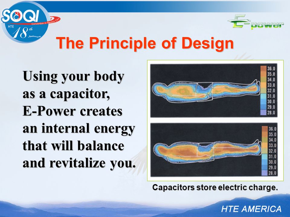 Using your body as a capacitor, E-Power creates an internal energy that will balance and revitalize you.
