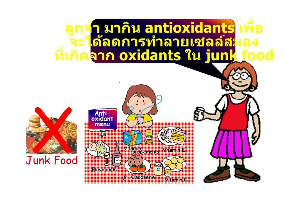 X Junk Food Anti- oxidant menu ลูกจ๋า มากิน antioxidants เพื่อ จะได้ลดการทำลายเซลล์สมอง ที่เกิดจาก oxidants ใน junk food