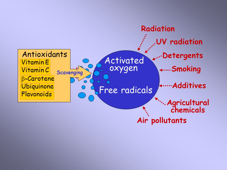 Radiation UV radiation Smoking Air pollutants Agricultural chemicals Additives Detergents Activated oxygen Free radicals Antioxidants Vitamin E Vitami