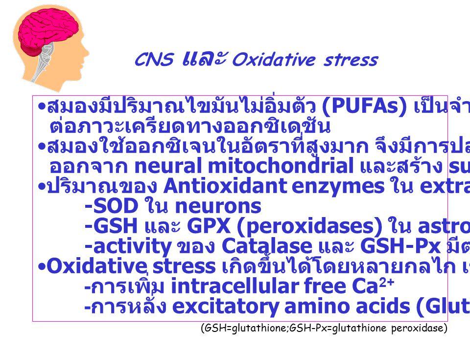 สมองมีปริมาณไขมันไม่อิ่มตัว (PUFAs) เป็นจำนวนมากทำให้ไว ต่อภาวะเครียดทางออกซิเดชัน สมองใช้ออกซิเจนในอัตราที่สูงมาก จึงมีการปล่อย oxidants ออกจาก neural mitochondrial และสร้าง superoxide anion ได้มาก ปริมาณของ Antioxidant enzymes ใน extracellular space มีน้อย : -SOD ใน neurons -GSH และ GPX (peroxidases) ใน astrocytes -activity ของ Catalase และ GSH-Px มีต่ำ Oxidative stress เกิดขึ้นได้โดยหลายกลไก เช่น - การเพิ่ม intracellular free Ca 2+ - การหลั่ง excitatory amino acids (Glutamate)*** CNS และ Oxidative stress (GSH=glutathione;GSH-Px=glutathione peroxidase)