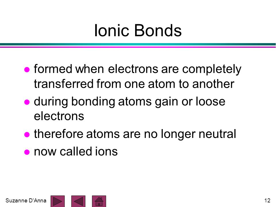 Suzanne D Anna12 Ionic Bonds l formed when electrons are completely transferred from one atom to another l during bonding atoms gain or loose electrons l therefore atoms are no longer neutral l now called ions