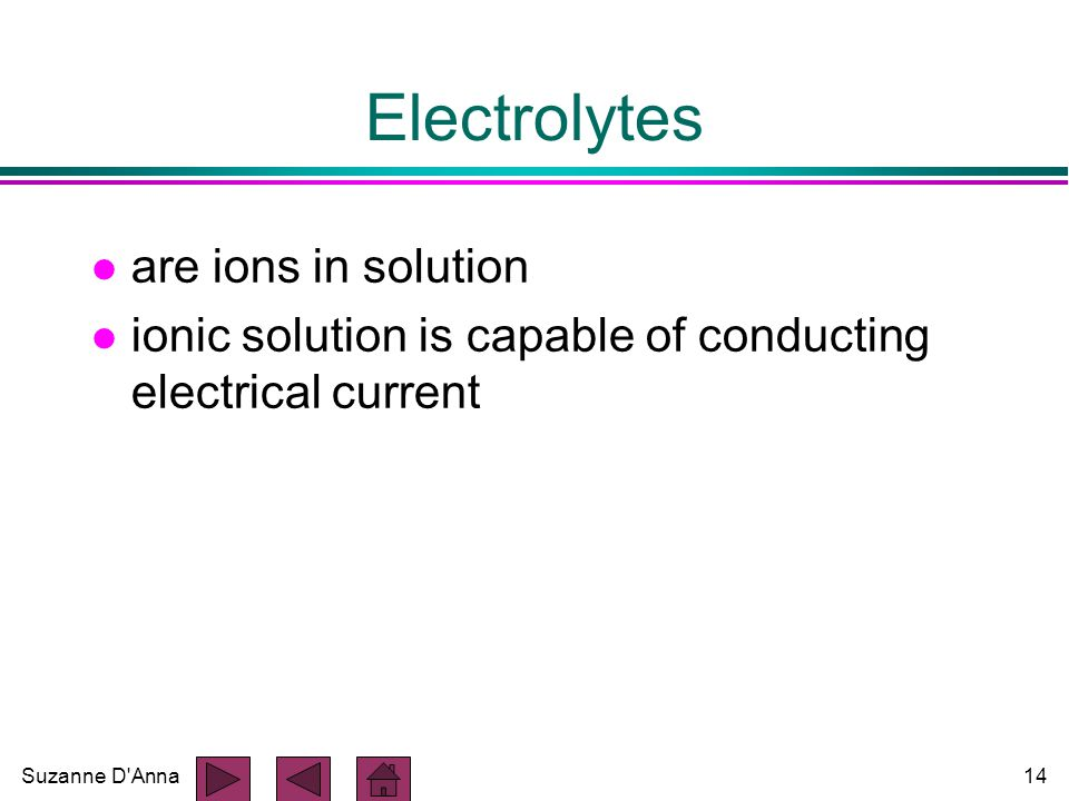 Suzanne D Anna14 Electrolytes l are ions in solution l ionic solution is capable of conducting electrical current