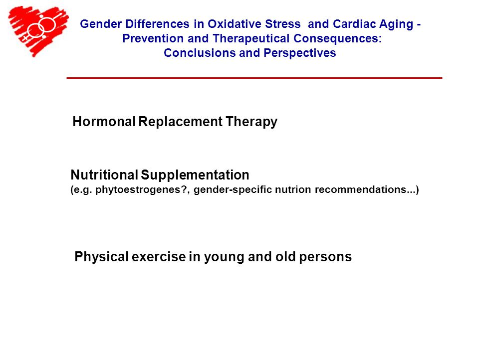 Gender Differences in Oxidative Stress and Cardiac Aging - Prevention and Therapeutical Consequences: Conclusions and Perspectives Hormonal Replacement Therapy Nutritional Supplementation (e.g.