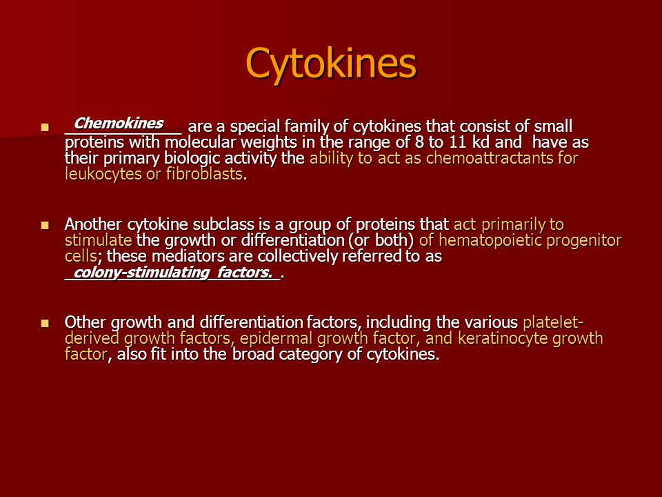Cytokines _____________ are a special family of cytokines that consist of small proteins with molecular weights in the range of 8 to 11 kd and have as