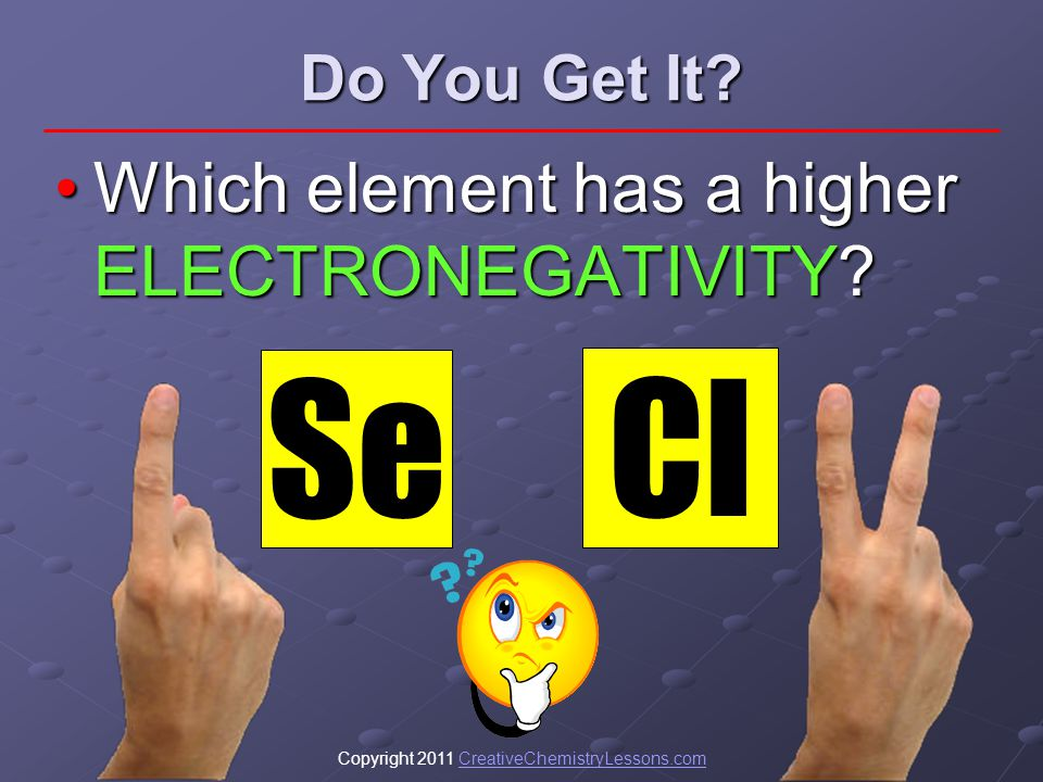 Copyright 2011 CreativeChemistryLessons.comCreativeChemistryLessons.com Do You Get It? Which element has a higher ELECTRONEGATIVITY?Which element has
