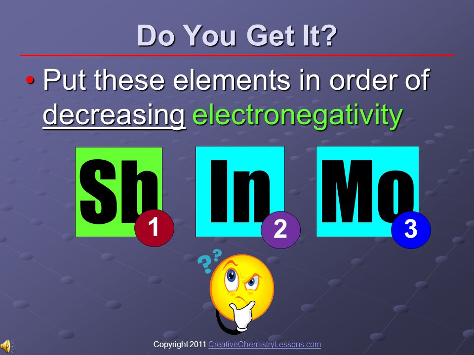 Copyright 2011 CreativeChemistryLessons.comCreativeChemistryLessons.com Do You Get It? Put these elements in order of decreasing electronegativityPut