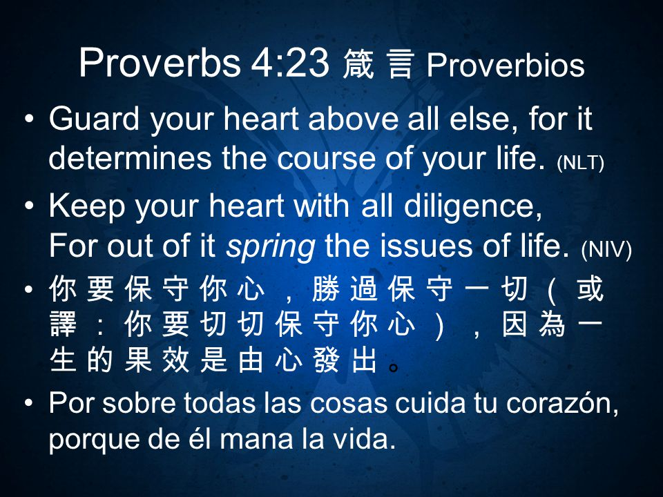 Proverbs 4:23 箴 言 Proverbios Guard your heart above all else, for it determines the course of your life.