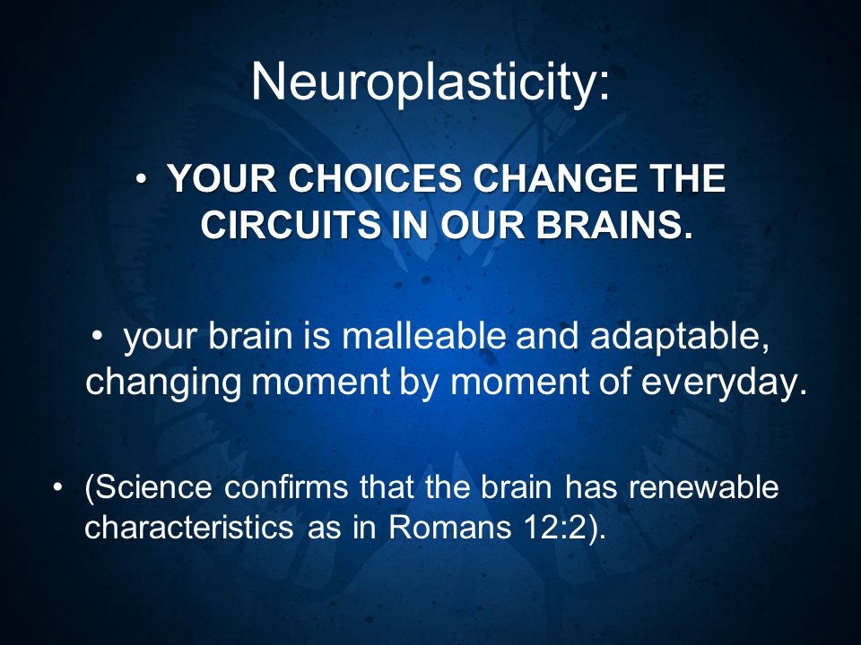 Neuroplasticity: YOUR CHOICES CHANGE THE CIRCUITS IN OUR BRAINS.YOUR CHOICES CHANGE THE CIRCUITS IN OUR BRAINS.