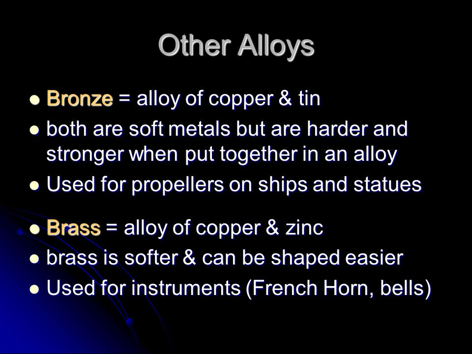Alloys Alloys = mixture of 2 or more elements where at least 1 is a metal & they have the characteristic properties of a metal Alloys = mixture of 2 o