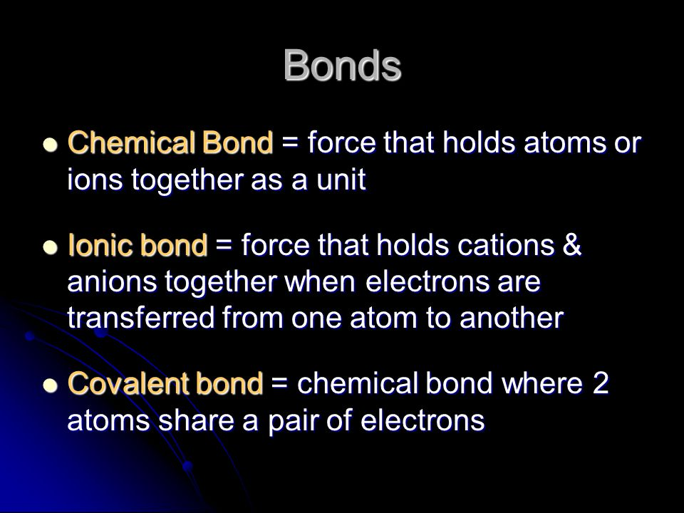 Ions Anion = is an ion which has gained an electron (Cl - in the last slide) Anion = is an ion which has gained an electron (Cl - in the last slide) a negative ion = anion a negative ion = anion (anion = has one extra electron) Name it by the root & -ide (ex.