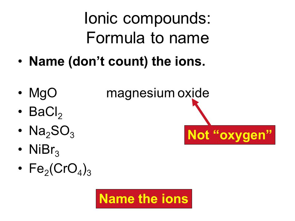 Ionic compounds: Formula to name Name (don't count) the ions.