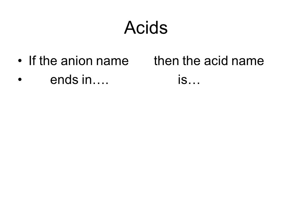 Acids If the anion name then the acid name ends in…. is…