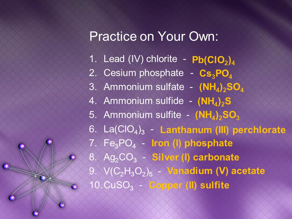 Practice on Your Own: 1.Lead (IV) chlorite - 2.Cesium phosphate - 3.Ammonium sulfate - 4.Ammonium sulfide - 5.Ammonium sulfite - 6.La(ClO 4 ) 3 - 7.Fe 3 PO 4 - 8.Ag 2 CO 3 - 9.V(C 2 H 3 O 2 ) 5 - 10.CuSO 3 - Pb(ClO 2 ) 4 Cs 3 PO 4 (NH 4 ) 2 SO 4 (NH 4 ) 2 S (NH 4 ) 2 SO 3 Lanthanum (III) perchlorate Iron (I) phosphate Silver (I) carbonate Vanadium (V) acetate Copper (II) sulfite