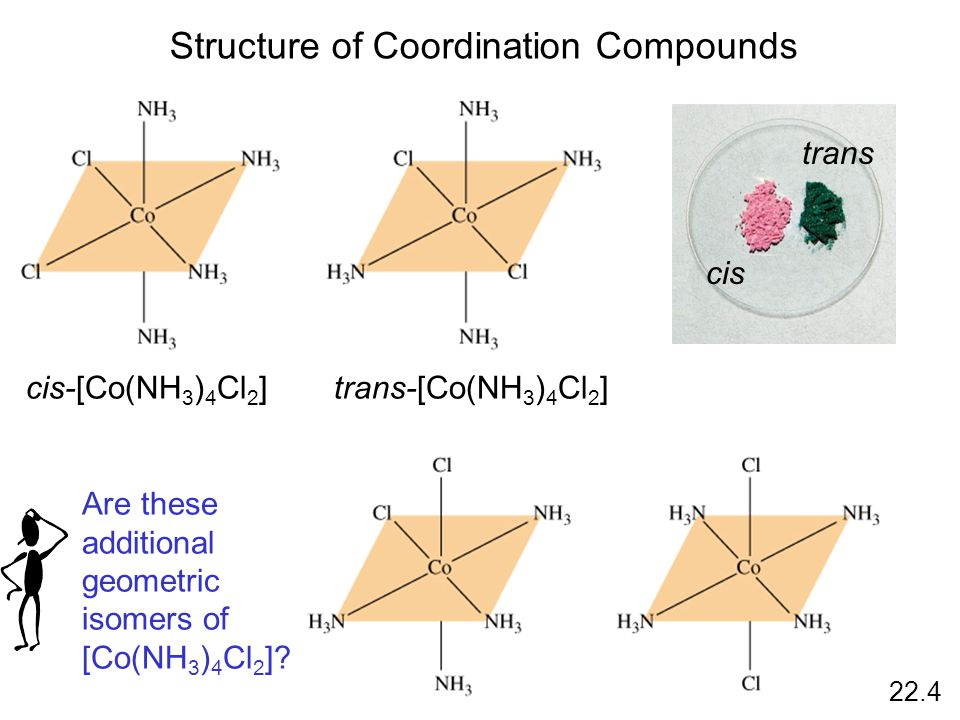 Structure of Coordination Compounds 22.4 cis-[Co(NH 3 ) 4 Cl 2 ]trans-[Co(NH 3 ) 4 Cl 2 ] Are these additional geometric isomers of [Co(NH 3 ) 4 Cl 2