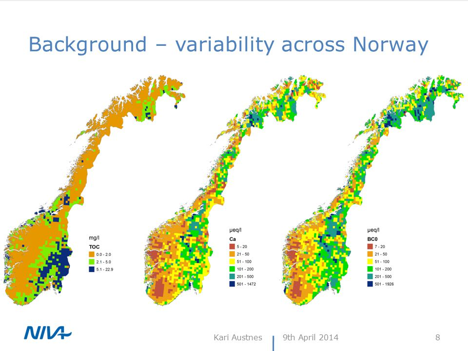 Background – variability across Norway 9th April 2014Kari Austnes 8