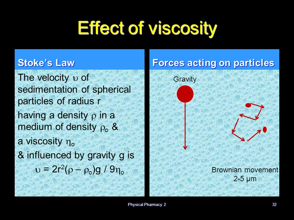 Effect of viscosity Stoke's Law The velocity  of sedimentation of spherical particles of radius r having a density  in a medium of density  o & a v