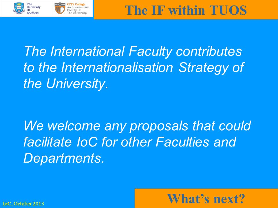 The International Faculty contributes to the Internationalisation Strategy of the University.