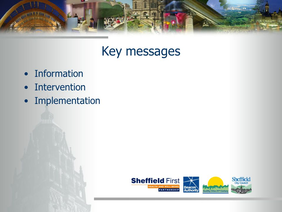 Key messages Information Intervention Implementation