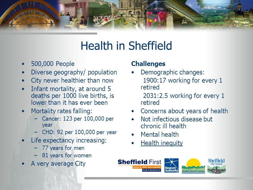 Health inequalities at a neighbourhood level All age, all cause mortality: Darnall 497, Ecclesall 159 Life expectancy: Flower 72.6 years, Ecclesall 88.3 Mothers smoking at delivery: Lowedges 39%, Ranmoor 0% Mental health admissions: Burngreave 424, Fulwood 75 Teenage pregnancy: Old Parson Cross 151, Ranmoor 0