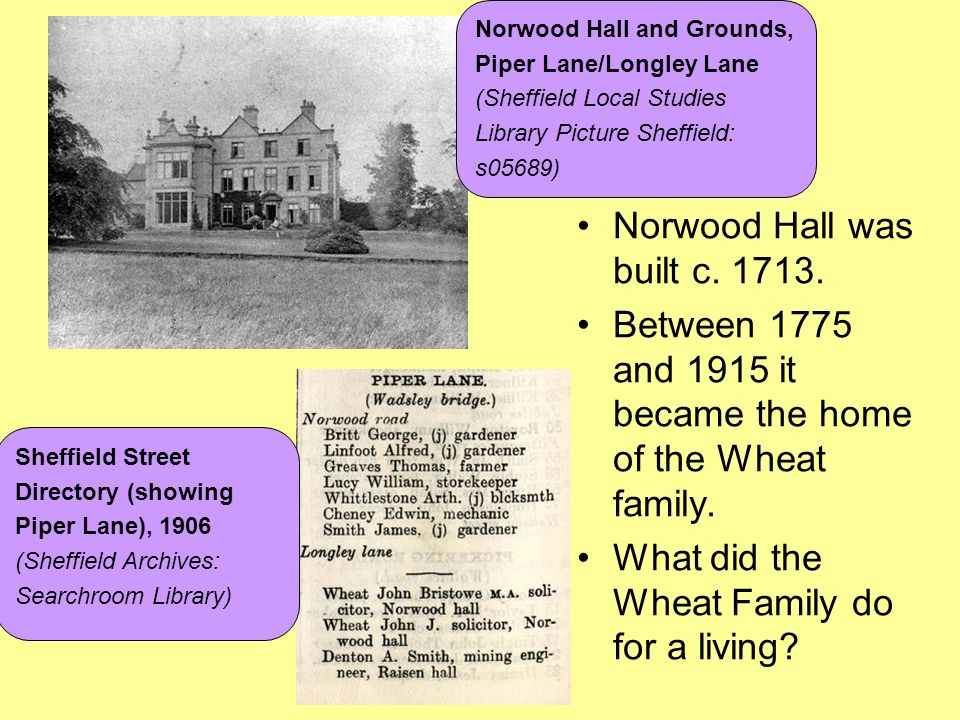 Norwood Hall was built c. 1713. Between 1775 and 1915 it became the home of the Wheat family. What did the Wheat Family do for a living? Norwood Hall