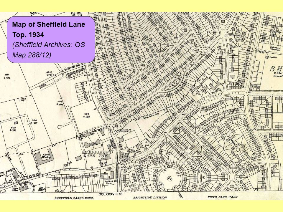 Map of Sheffield Lane Top, 1934 (Sheffield Archives: OS Map 288/12)