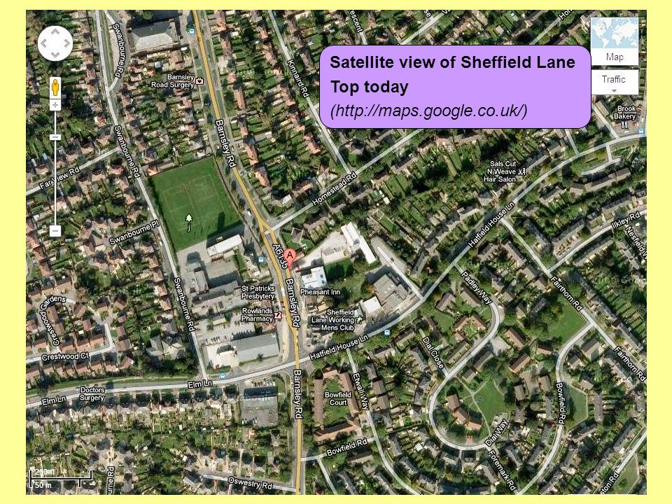 Satellite view of Sheffield Lane Top today (http://maps.google.co.uk/)
