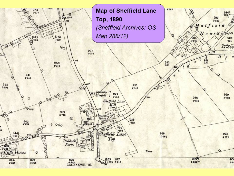 Map of Sheffield Lane Top, 1890 (Sheffield Archives: OS Map 288/12)