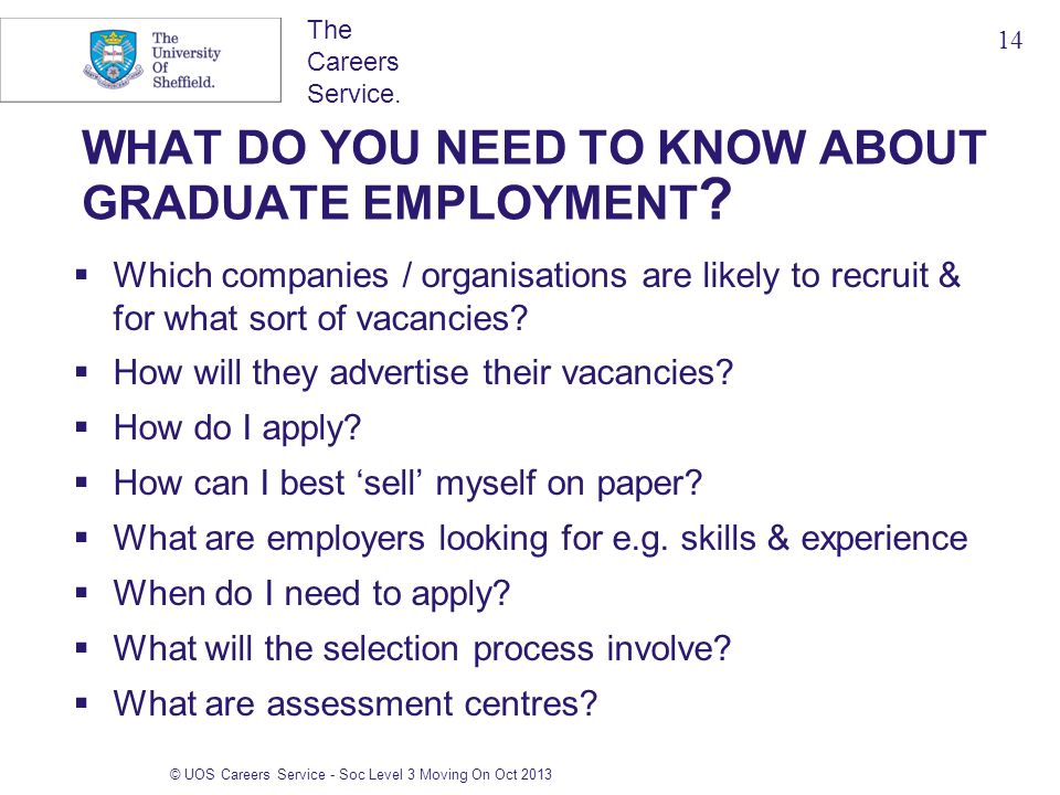 The Careers Service. © UOS Careers Service - Soc Level 3 Moving On Oct 2013 WHAT DO YOU NEED TO KNOW ABOUT GRADUATE EMPLOYMENT ?  Which companies / o