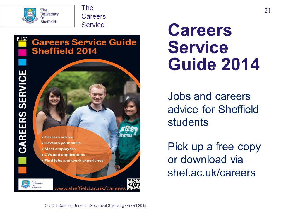 The Careers Service. Careers Service Guide 2014 Jobs and careers advice for Sheffield students Pick up a free copy or download via shef.ac.uk/careers
