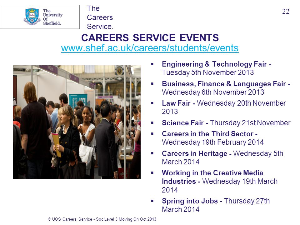 The Careers Service. CAREERS SERVICE EVENTS www.shef.ac.uk/careers/students/events www.shef.ac.uk/careers/students/events  Engineering & Technology F