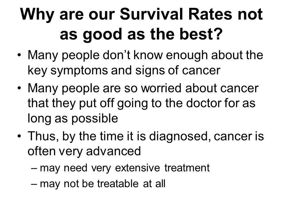 Why are our Survival Rates not as good as the best.