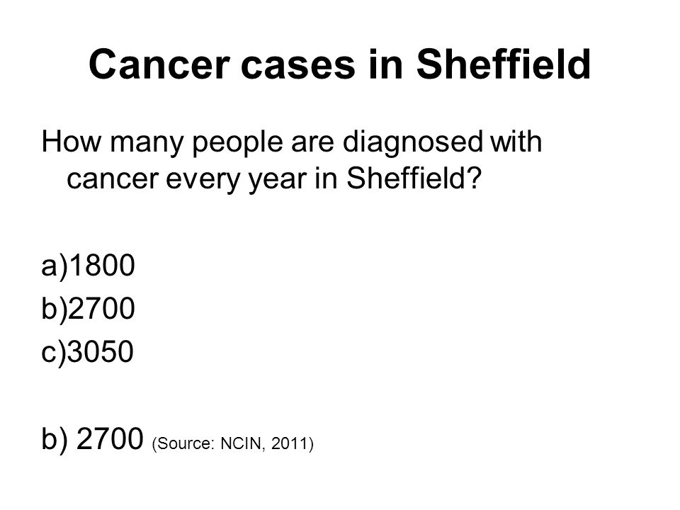 Cancer cases in Sheffield How many people are diagnosed with cancer every year in Sheffield.