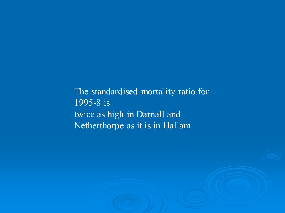 The standardised mortality ratio for 1995-8 is twice as high in Darnall and Netherthorpe as it is in Hallam