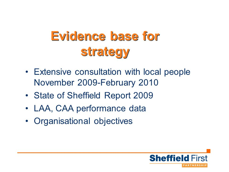 Evidence base for strategy Extensive consultation with local people November 2009-February 2010 State of Sheffield Report 2009 LAA, CAA performance data Organisational objectives