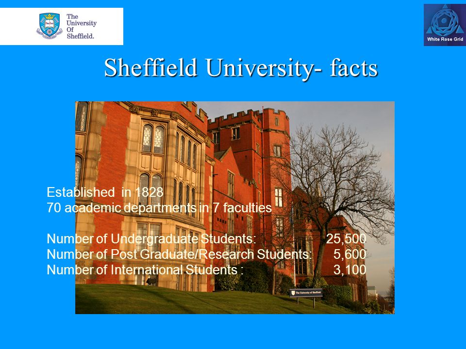 Sheffield University- facts Established in 1828 70 academic departments in 7 faculties Number of Undergraduate Students: 25,500 Number of Post Graduate/Research Students: 5,600 Number of International Students : 3,100