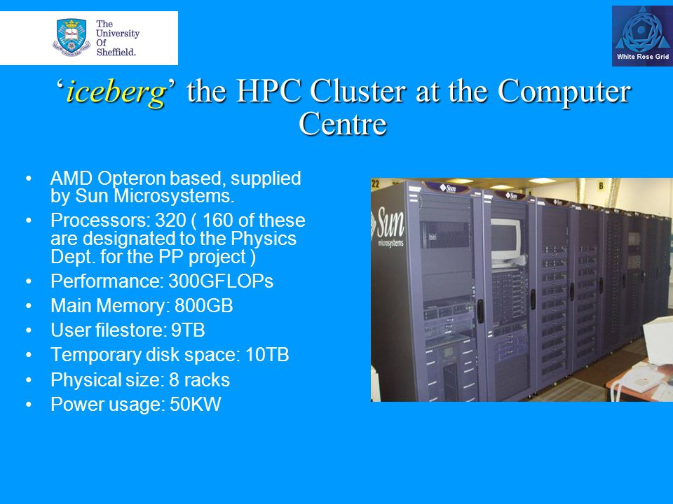 'iceberg' cluster hardware components 160 general-purpose-use cpu's; 80 of these are in dual-core configuration with 2 GBytes of memory each.