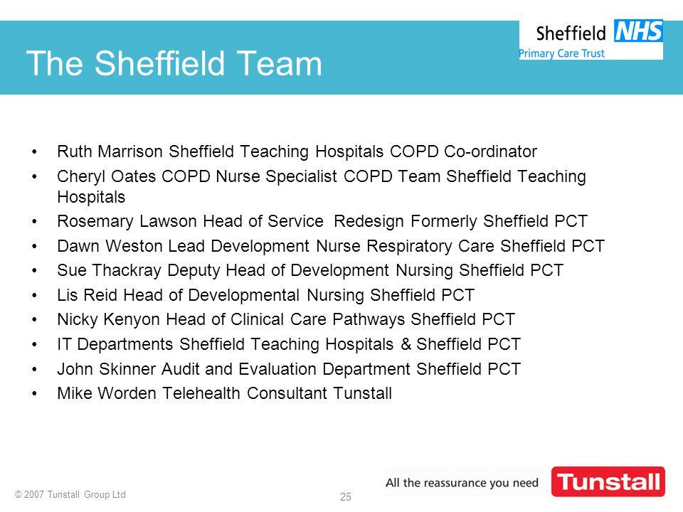 © 2007 Tunstall Group Ltd 25 The Sheffield Team Ruth Marrison Sheffield Teaching Hospitals COPD Co-ordinator Cheryl Oates COPD Nurse Specialist COPD T