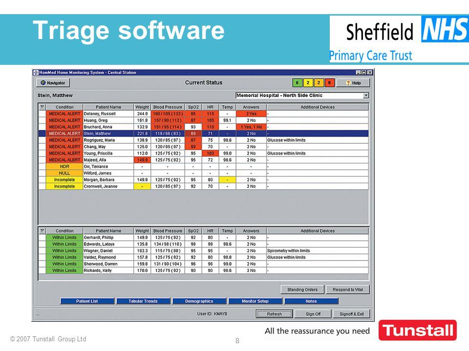 © 2007 Tunstall Group Ltd 8 Triage software