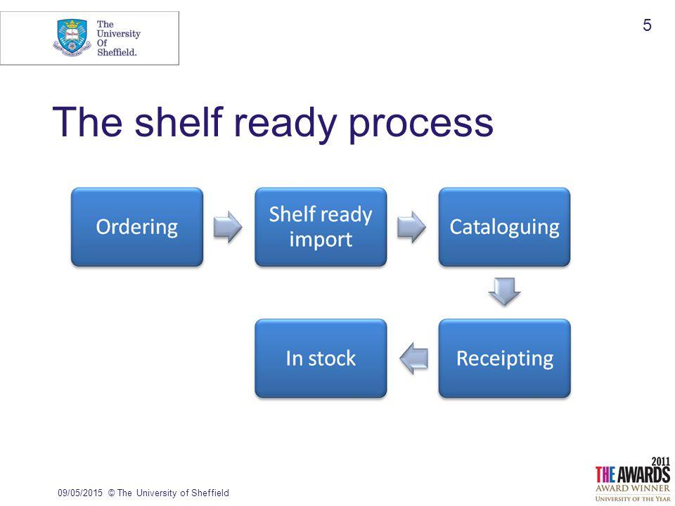 The shelf ready process 09/05/2015© The University of Sheffield 5