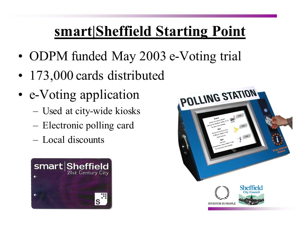 smart|Sheffield Starting Point ODPM funded May 2003 e-Voting trial 173,000 cards distributed e-Voting application –Used at city-wide kiosks –Electronic polling card –Local discounts