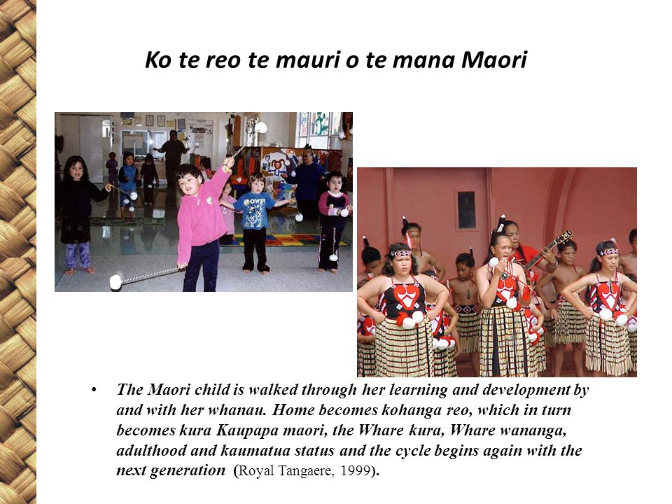 Ko te reo te mauri o te mana Maori The Maori child is walked through her learning and development by and with her whanau.