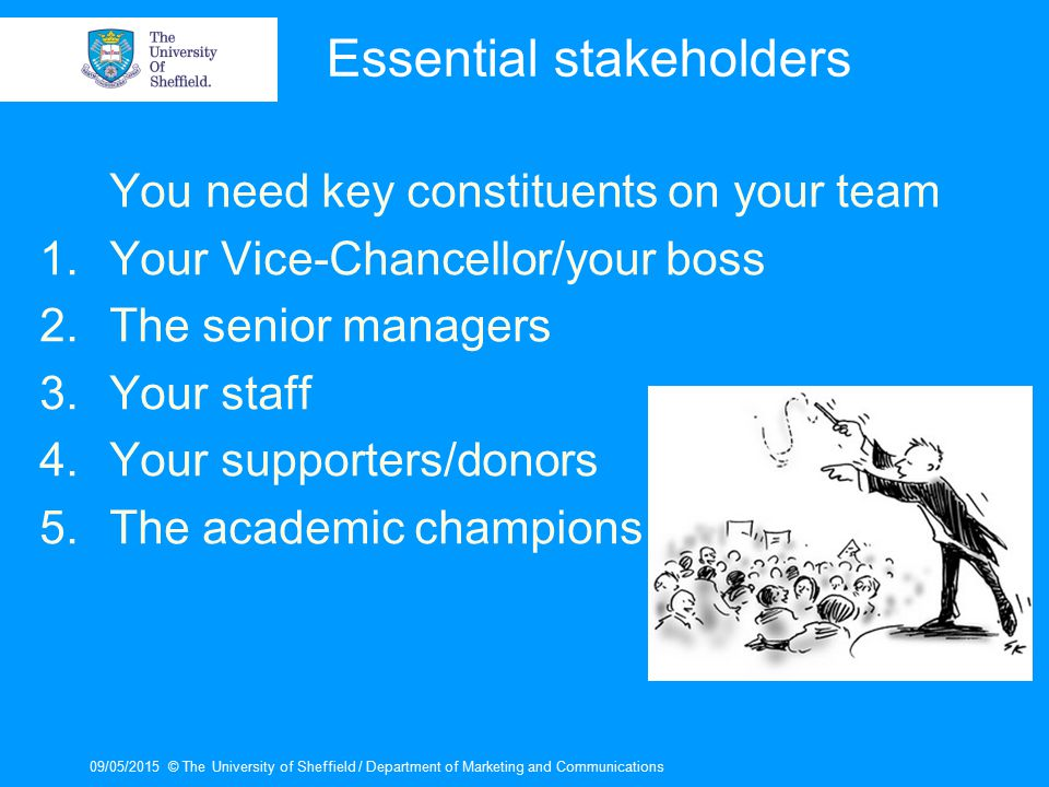 09/05/2015© The University of Sheffield / Department of Marketing and Communications Essential stakeholders You need key constituents on your team 1.Y