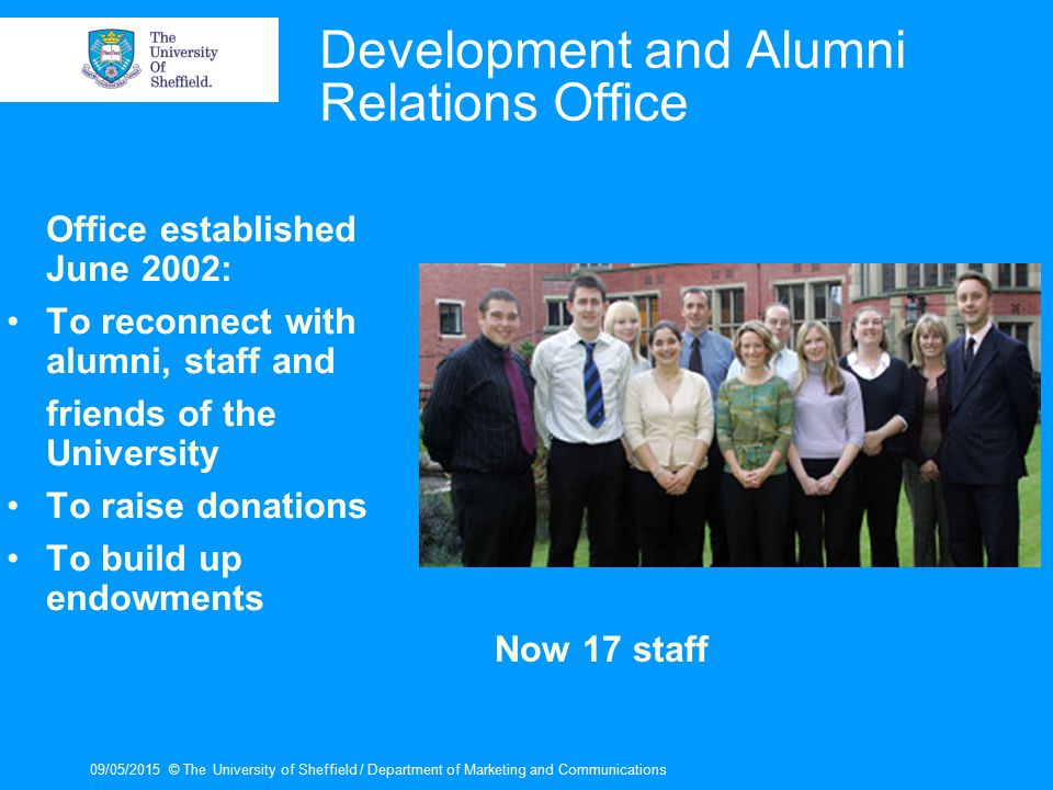 09/05/2015© The University of Sheffield / Department of Marketing and Communications Development and Alumni Relations Office Office established June 2