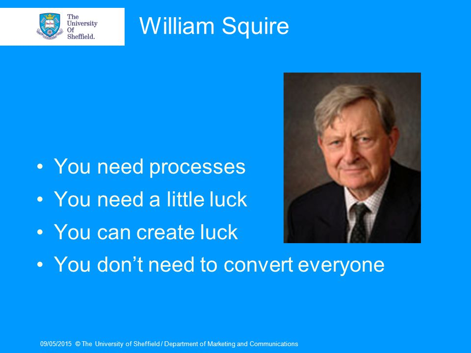 09/05/2015© The University of Sheffield / Department of Marketing and Communications William Squire You need processes You need a little luck You can