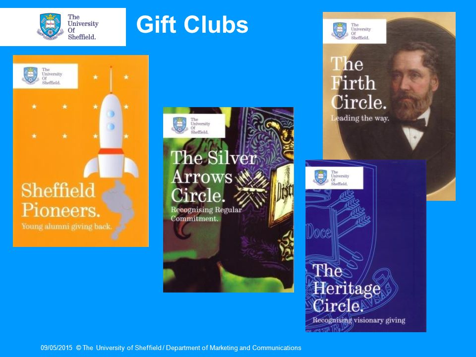 09/05/2015© The University of Sheffield / Department of Marketing and Communications Gift Clubs